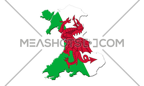 Map Of Wales With Flag Of Country On It Isolated On White Background 3D Illustration