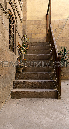 Stairs at the courtyard of Zeinab Khatoun house, a historic house in Old Cairo, Egypt, one of the most remarkable houses left nowadays