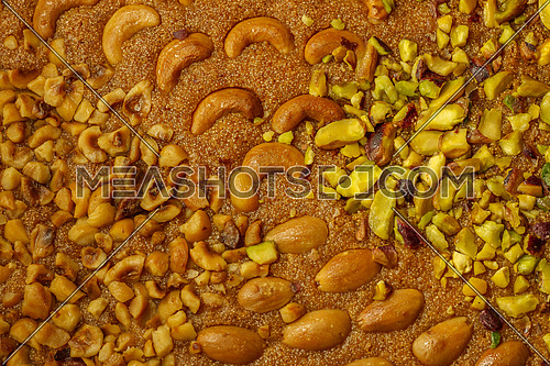 Basbosa Oriental sweets with mixed nuts