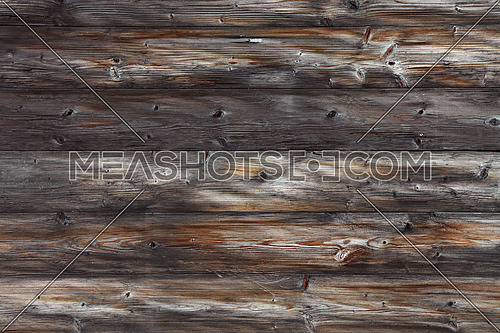 Close up background texture of old vintage rustic weathered wooden wall with horizontal planks