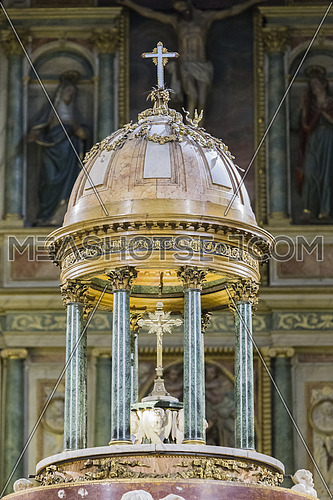 Jaen, Spain - may 2016, 2: High altar, detail of the dome of the presbytery, measures two meters in height with a weight of 110 kg, work of Pedro Arnal, custody made by Juan Ruiz, take in Jaen, Spain