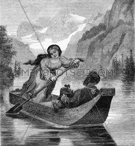 The Bateliere the Koenigssee, vintage engraved illustration. Magasin Pittoresque 1870.