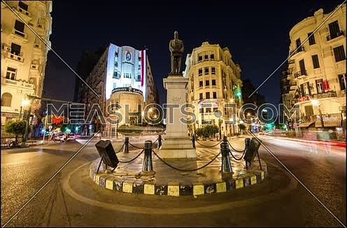 Timelapse at Talaat Harb Square in Downtown Cairo at night
