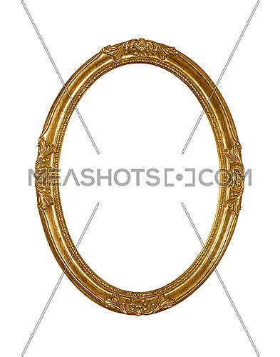 Vintage old wooden classic golden round oval frame for picture or photo, isolated on white background, close up