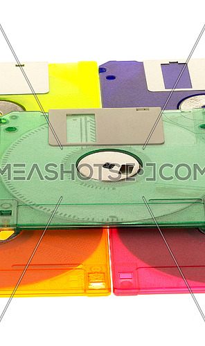 coulorfull plastic floppy disk on white background