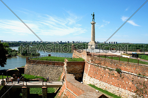 Statue of Victory - Kalemegdan in Belgrade and cityscape