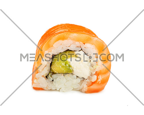 Close up one Philadelphia sushi roll with raw salmon isolated on white background, low angle side view