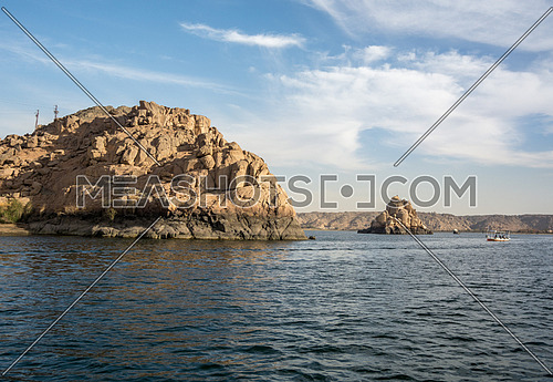 A small Boat sailing in the river nile in Aswan