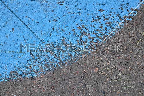 Vivid Blue painted rough gray concrete wall or floor texture background close up