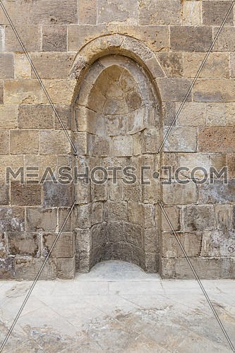 Stone wall with embedded niche, Exterior wall of Mausoleum of al-Salih Nagm Ad-Din Ayyub, Cairo, Egypt