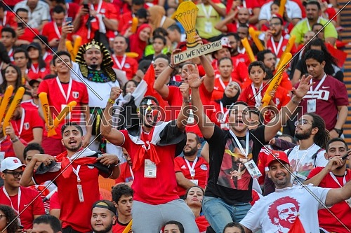 Fans of Egypt support their team ahead of the opening football match of the 2019 Africa Cup of Nations (CAN) Group A match between Egypt and Zimbabwe at the Cairo International Stadium in Cairo, Egypt on June 21, 2019