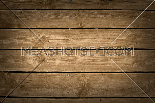 Brown vintage grunge old wooden panel texture with horizontal planks, screw heads and shaded border