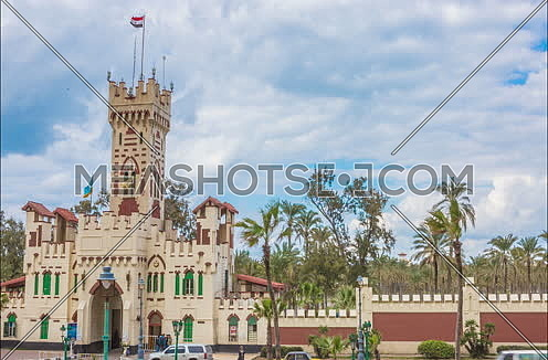 fixed Long shot for Montazah Palace Gate at Alexandria at Day