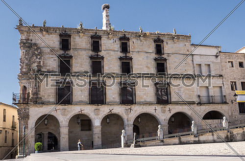 Trujillo, Spain - July 14, 2018: House - Palace of the Marquess of the Conquest, It was built in the beginning of 1560 by the master of quarrying Sancho of Cabrera about the old Butchers Municipal, Trujillo, Caceres Province, Spain