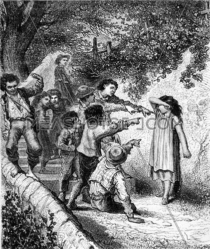 Cheating at play! Cheat the game!, Composition and design of Theophile Schuler, vintage engraved illustration. Magasin Pittoresque 1873.