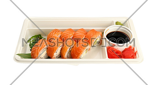 Close up take away set of six Philadelphia sushi rolls with raw salmon in disposable plastic tray isolated on white background, high angle view