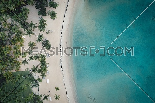 Drone shot of tropical beach.Samana peninsula,Bahia Principe beach,Dominican Republic.