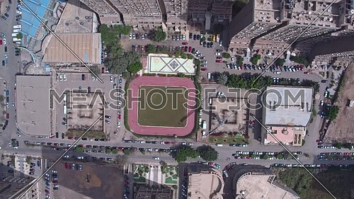 Fly Down Shot Drone over a football play in Al Maadi area in 22th of March 2018 at day.