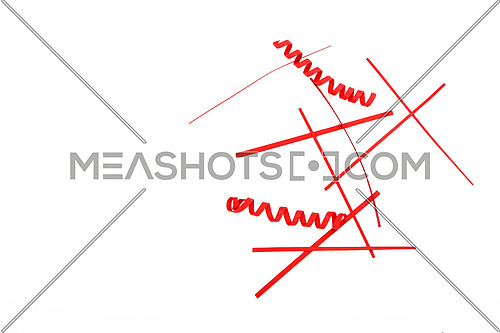 Small things matter, spread heap of red paper craft pieces decoration elements, stripes and spirals isolated on white background