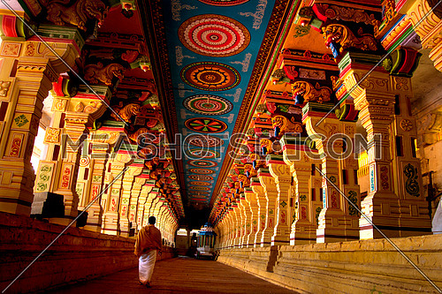 Corridor of Ramanathaswamy temple,Tamilnadu, India
