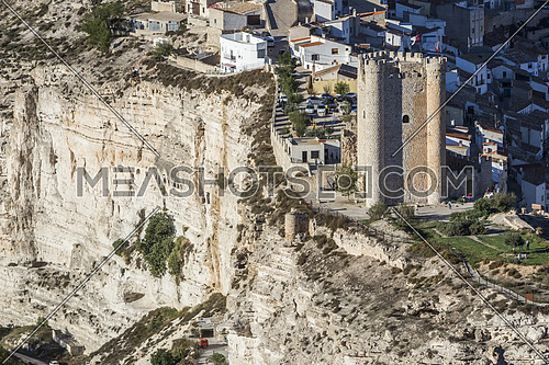 Alcala del Jucar, Spain - October 29, 2016: Castle of Almohad origin of the century XII, take in Alcala of the Jucar, Albacete province, Spain