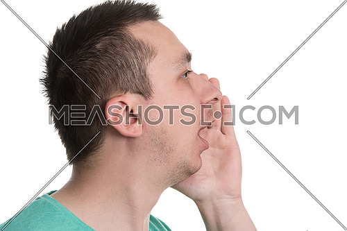 Closeup Portrait Of A Young Man Screaming Out Loud Isolated On White Background