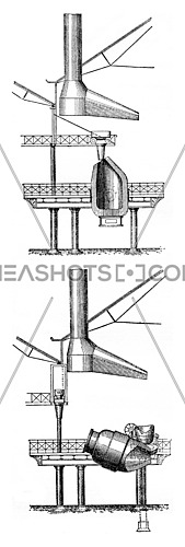 Position of the converter at the time of introduction of the lime, vintage engraved illustration. Industrial encyclopedia E.-O. Lami - 1875.