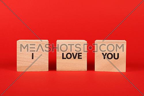 Close up three wooden cube signs with LIFE IS FUN words over red background with copy space, low angle side view