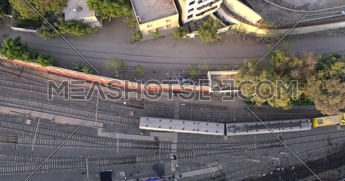 Aerial shot for Railway while Metro Passing by in Cairo at day