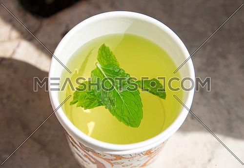 mint leaf in water