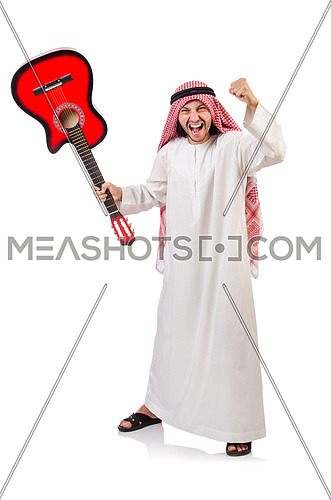 Arab man playing guitar isolated on white
