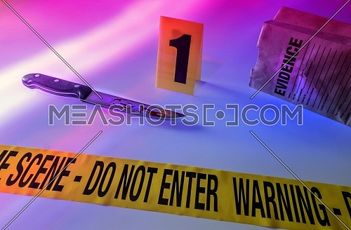 Knife at the scene of a crime, conceptual image, composition horizontal