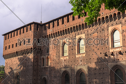 The Outer Wall of Castello Sforzesco (Sforza Castle) in Milan, Italy