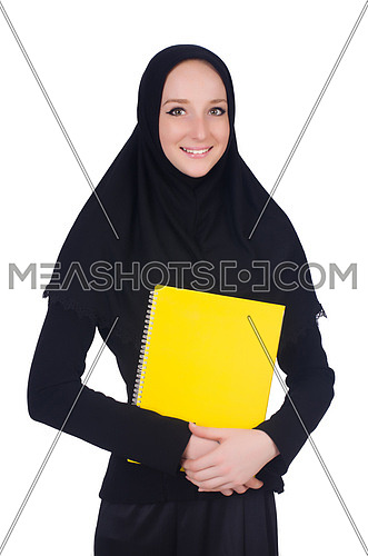 Young muslim student with books on white