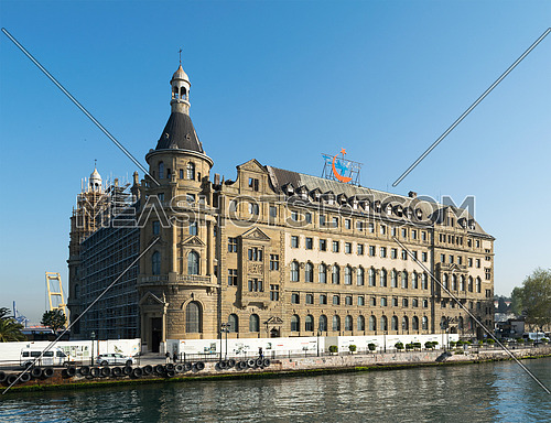 Istanbul, Turkey - April 27, 2017: Haydarpasha Railway Terminal, situated in the Bosphorus, Kadikoy, Istanbul, Turkey, built in 1909 and closed in 2013 due to the rehabilitation of the Marmaray line