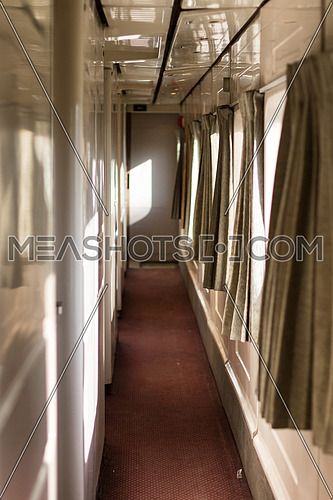 First class train corridor in Egypt