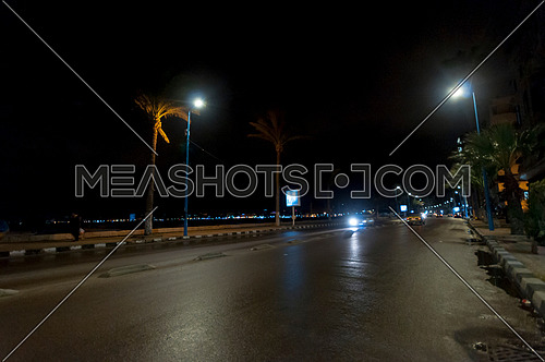 Long shot for traffic at seaside at Alexandria at Night