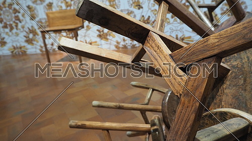 Abstract wooden piece in Exposition Ai Weiwei Florence Palazzo Strozzi