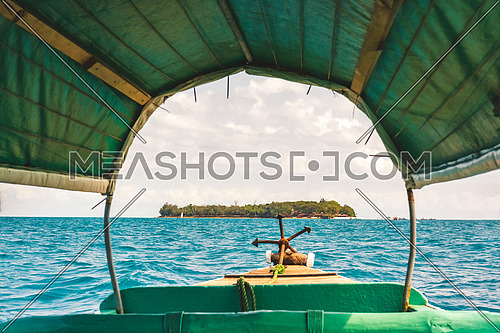 Nice view inside the boat of Prison island,Zanzibar Tanzania,sunny day.