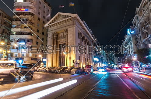 Track Left Low angel shot for Stock Market Bulding in Alexandria at night