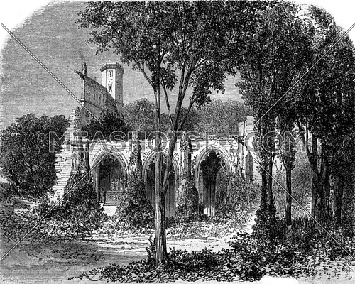 Ruins of the Abbey Victory near Senlis, Oise, vintage engraved illustration. Magasin Pittoresque 1870.