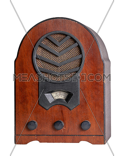 Classical grunge classical analog radio receiver isolated on white background including clipping path