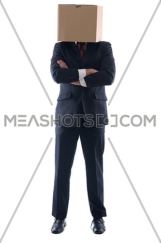 anonymous business man with a cardboard box on his head concealing his identity