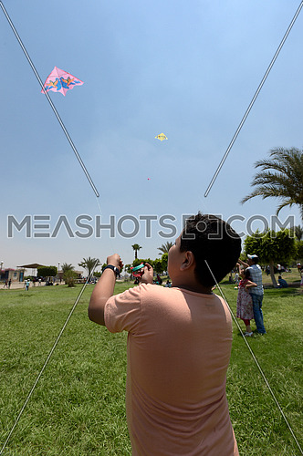 an Egyptian child flying a kite in a park during eid celebrations on 7 July 2016