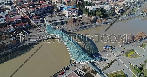 Drone shots for The Bridge of Peace IN TIBILISI Georgia