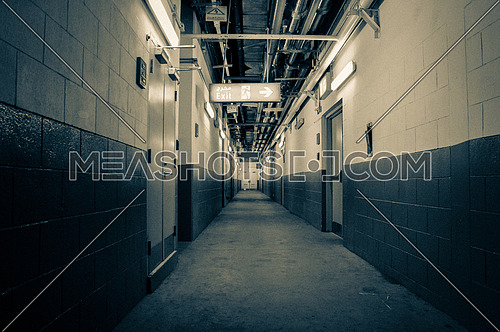 service corridor inside a big building
