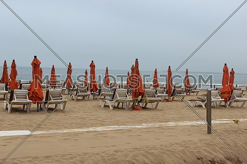 Long shot for The beach of Agadir, in Morocco in Summer 2018 at day.