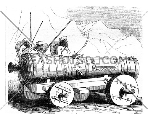 An Afghan cannon, vintage engraved illustration. Magasin Pittoresque 1843.