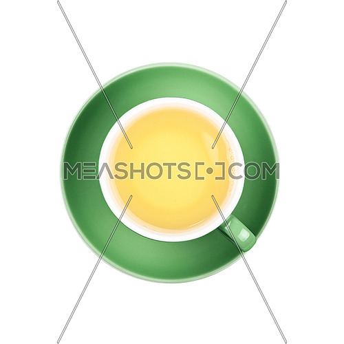 Full cup of clear green tea on green saucer isolated on white background, close up, elevated top view
