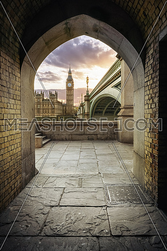Westminster Pedestrian Tunnel in London showing the london clock tower bigben